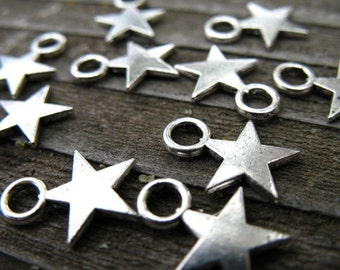 50 Silver Star Charms 11mm Antiqued Silver