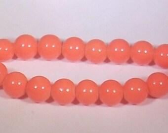 Round 8mm orange glass beads