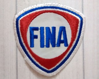 "Used Vintage Fina Gasoline Patch 3.1"", Sew On Retro Gas Station Applique, Petrofina Oil Company Collectible, Petroliana Memorabilia"
