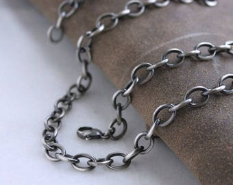 Mens Large Link Cable Chain Necklace, Mens Sterling Silver Chain Necklace