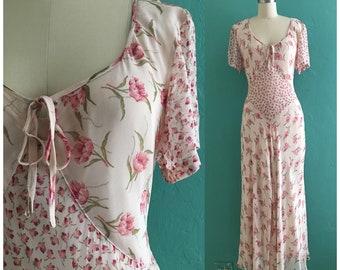 vintage 90's pink floral dress // spring floral midi dress