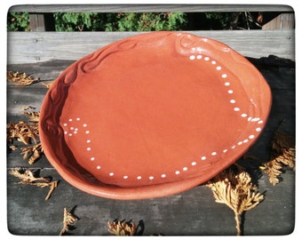 "Terracotta Dinner Plate, Hand Carved, Brick Red, Spirals, White Dots, Tripod Feet, One of a Kind, ""Second Time Around"" (dp3)"