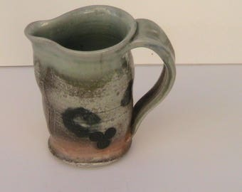 Handthrown Woodfired Pitcher Celadon Glaze