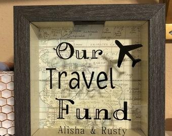 Travel Fund/Shadow Box Bank/Ticket Holder/Engagement Gift/ Wedding Gift/ Travel Gift/ Shadow box