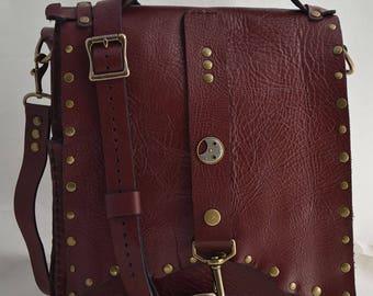 Burgundy Leather Cross-body Shoulder and Handbag