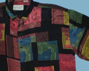 Vintage 80s Jewel Tone Tribal Print Silky Rayon Shirt L