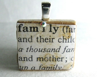 Family - vintage dictionary Scrabble tile with Swarovski crystal
