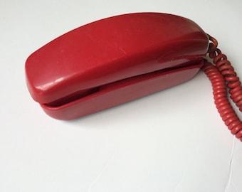Vintage Red ITT Trimline Telephone Rotary Dial