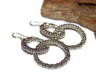 Hoop Dangle Earrings, Shiny Silver  Earrings, Silver Jewelry, Large Earrings, Pierced Earrings, Gift for Her, Canadian Seller