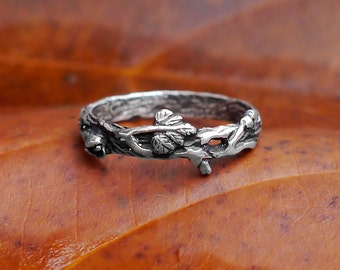 "Sterling Silver Twig Ring ""Mio"" READY TO SHIP, twig ring silver, wedding band,tree branch ring,ring set, antique stacking rings, wedding set"