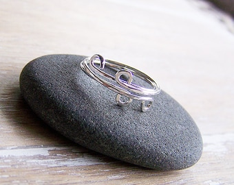 Sterling Silver Wave Stack Rings, Sterling Hammered Wave Ring, Two Sterling Silver Stack Ring
