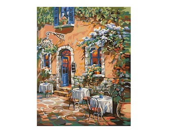 Plaid Paint by Number Kit FRENCH COUNTRY CAFE 16 x 20 inches No Blending Mixing