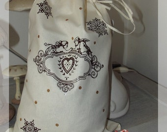 """Gift bag or Christmas toy """"shabby chic"""""""