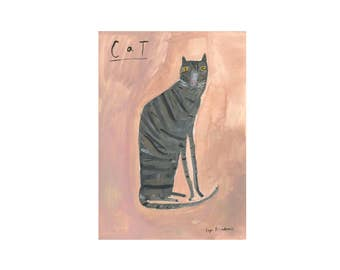 Original Faye Moorhouse Painting || Cat on Pink