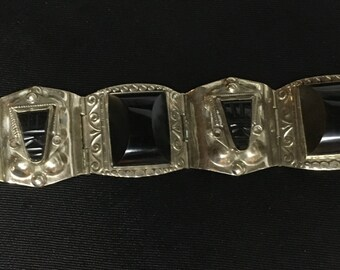 Mexican Black and Sterling Silver Bracelet