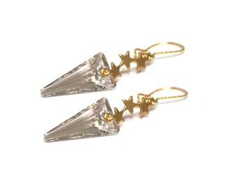 Champagne Swarovski earrings, gold vermeil, womans, Tristars, contemporary, boho, gold plated, rocker, stars, dangle - Free shipping