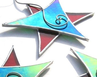 Dancing Star - vitrail ornement - fil vert rouge spirale Noël vacances décoration Suncatcher décoration d'arbre de Noël