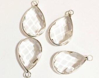 Pendentif en forme de goutte à facettes en verre 4 avec cadre en argent, gouttes de verre clair 22x14mm, larmes de verre encadrée