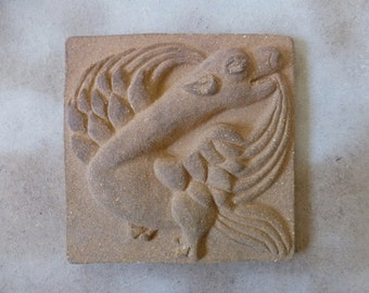 Relief tile with a dragon; Ceramic tile with a dragon; Dragon lovers gift; Ceramic dragon; Bas-relief; Medieval decor; Gothic decor.