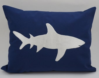 "Shark Pillow Cover, Embroidery, Nautical Pillow, Beach decor, Decorative Pillow, Accent Pillow, Fits 12""x16"" Insert, Navy, Ready to ship"