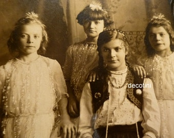 Young Girls of the Stage. Fairies and Folk Dancer.  Antique Silver Gelatin Photo. Elgin IL.  Circa 1910.