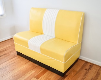 mid century sofa, loveseat, bench, fabulous mid century modern lemon yellow and white striped vinyl sofa bench, retro, vintage