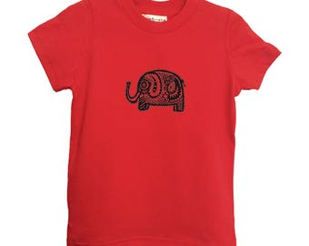 Red Elephant Kids Tshirt Size 2 4 6 American Apparel Cotton T2 T4 T6