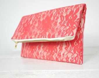 Coral lace clutch, fold over coral lace clutch   Coral Bridesmaid Clutch   Wedding Clutch in Coral