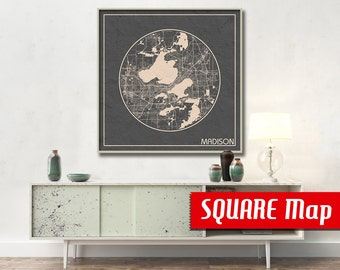 MADISON WI SQUARE Map Madison Wisconsin Poster City Map Madison Wisconsin Art Print Madison Wisconsin poster Madison map