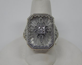 Reproduction Sterling Silver Filigree Camphor Glass Ring