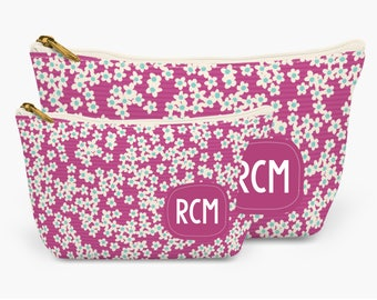 Raspberry Wildflowers Personalized Pencil Zipper Pouch    Make-up Bag   Zipped Organizer   Available in 2 sizes   Great gift idea for her