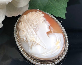 Victorian Cameo Pin, Shell Cameo Brooch, Cameo with Pearls, Antique Cameo Brooch, Sterling Cameo Brooch Pendant, Wedding Cameo, Gift for Her