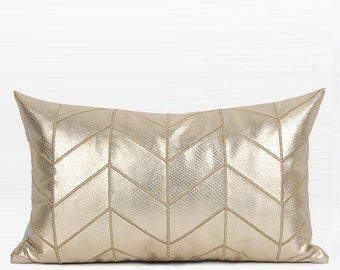 "Luxury Gold Faux Leather Chevron Pattern Pillow Cover 12""X20"""