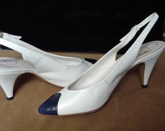 Navy Toe White Kid  Sling Back High Heel Pumps 7N Item #46 Summer Shoes