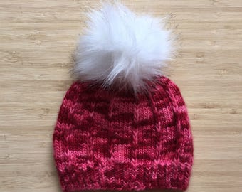 Pink toddler beanie with faux fur pompom hat, baby girl beanie, made with supersoft merino wool, size 12 months, READY TO SHIP
