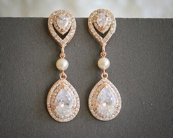 Bridal Chandelier Earrings, Wedding Earrings, Art Deco Statement Teardrop Dangle Earrings, Swarovski Pearl and Rhinestone Earrings, ELSA