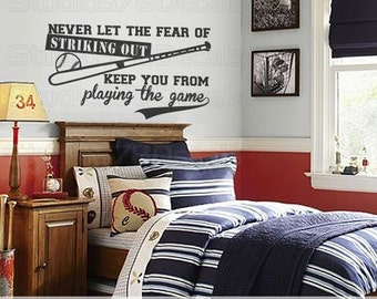 Baseball Wall Decal | Never Let The Fear Of Striking Out | Sports Wall Decal | Boy Girl Athletics | Man Cave Decor | Vinyl Wall Quote