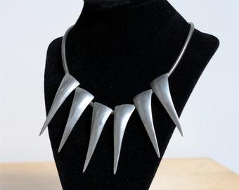 Vintage Robin Kahn, Modernist, Shard Necklace, Statement Necklace, Pewter, Industrial, 1980s, Signed