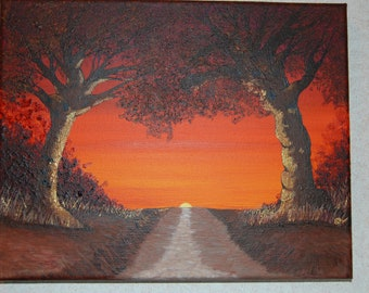 Hand Painted Acrylic Painting on 8x10 inch stretched canvas - Sunrise Path - FREE shipping within the USA - Item #087