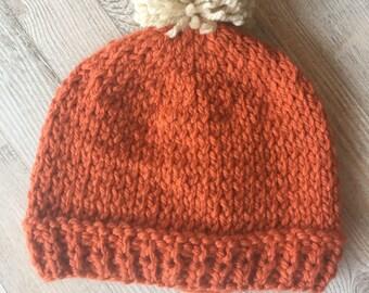 READY TO SHIP // Knit Beanie and Wrist Warmers set, Hat and Glove Set, Beanie and glove Set, Hat and fingerless glove set, Orange Beanie