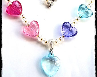 Beaded Necklace and Sets:  Candy Colored Sweethearts!  Matching Aid Charms Available at a Discounted Bundle Price!
