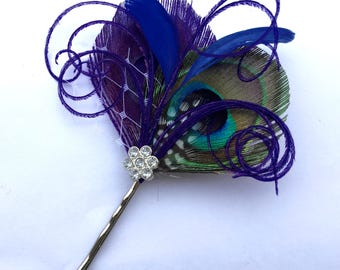 TRULY Purple and Blue Peacock Feathers Fascinator, Bridal Prom Wedding Hair Clip Steampunk