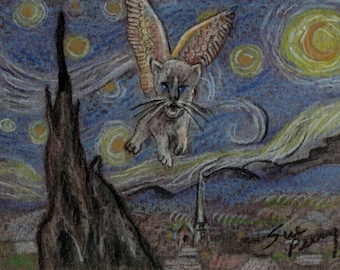 original art  aceo drawing anthropomorphic cat flying starry night