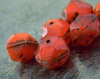 Molten (6) -Czech Glass English Cut Rounds 10mm