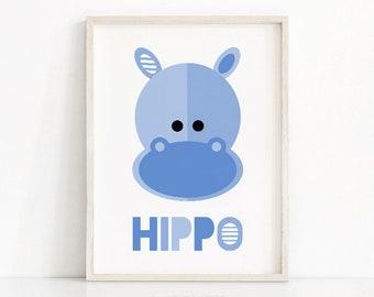 Animal Nursery Print, Kids Wall Art, Download Printable Nursery Wall Art, Kids Art Print, Hippo Art,  Blue Nursery Decor, Jungle Nursery Art