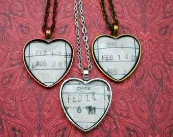 Vintage Library Due Date Card Heart Shaped Limited Edition Necklace or Key Ring