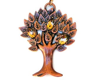 Tree of life necklace, antiqued copper tree necklace, statement necklace