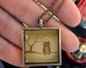Owl Art Pendant Necklace,  Antique brass chain