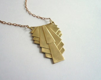 Art deco necklace Classic necklace Gold necklace Pendant necklace 1920s necklace necklace Custom length necklace Geometric necklace Gift