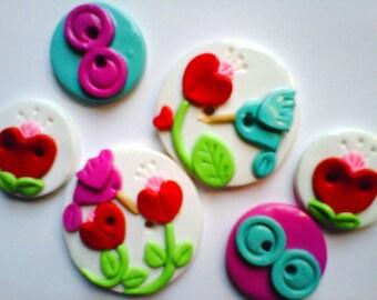 Button Hummingbirds handmade polymer clay button set ( 6 )